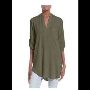 Lush perfect roll tab sleeve tunic Olive, Large